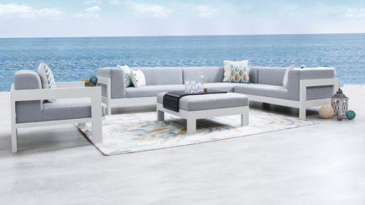 Lavi white outdoor corner-lounge with ottoman & armchair
